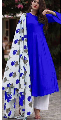 Blue Colour Salwar Russion Silk With Four Side