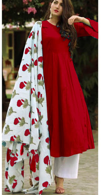 Red Colour Salwar Russion Silk With Four Side