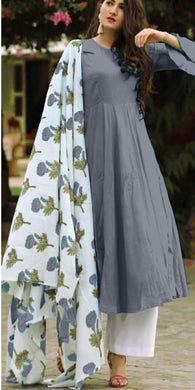 Grey Colour Salwar Russion Silk With Four Side