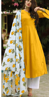 Yellow Colour Salwar Russion Silk With Four Side