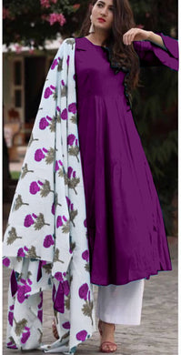 Purple Colour Salwar Russion Silk With Four Side