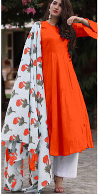 Orange Colour Salwar Russion Silk With Four Side