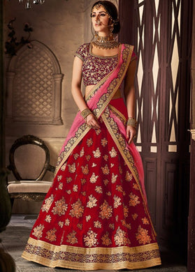 Navratri Special Red Colour Lehenga  Velvet Silk With Embroideryi Work