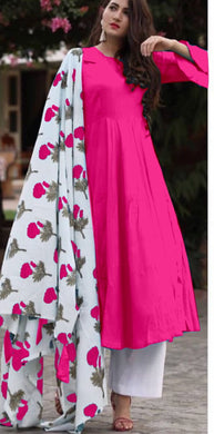 Pink  Colour Salwar Russion Silk With Four Side