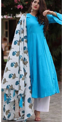 Skyblue Colour Salwar  Russion Silk With Four Side