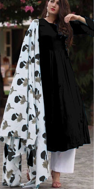 Black Colour Salwar  Russion Silk With Four Side
