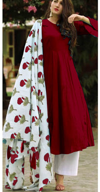 Maroon Colour Salwar Russion Silk With Four Side