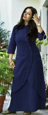 Blue Color Awesome Slub Cotton Kurti