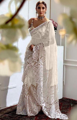 White Color Orgenza Silk With Heavy Embroidery Work