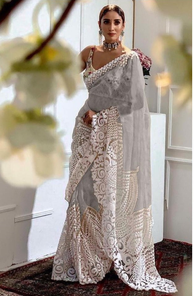 Grey Color Orgenza Silk With Heavy Embroidery Work