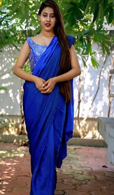Blue Color Satin Silk Partywear Readymade Saree