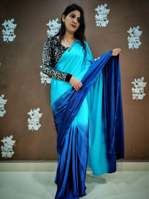 Blue Color Heavy Japan Satin Silk Saree