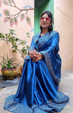 Blue Color Rangila Roli Georgate Saree