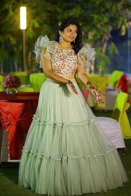 Pretty Pista Colour Net With Cancan Net Lehenga