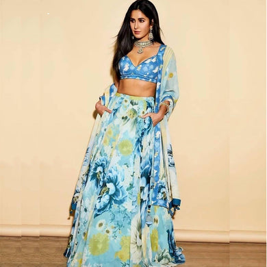 Bollywood Style Skyblue Colour Crepe Lehenga