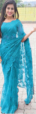 New Collection Sky Blue Colour  Mono Net With Heavy Embrodery Work Saree
