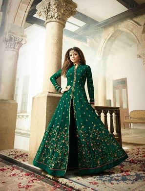 New Collection Green Colour Faux Georgette Embroidery Work  Salwar Suit