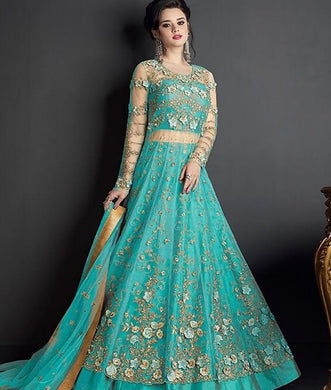 New Collection Skyblue Colour Heavy Net With Embroidery Work Salwar Suit