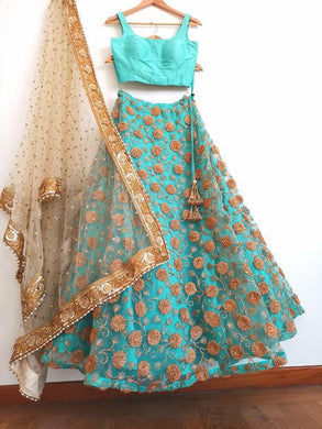 Attactive Skyblue Colour Net With Inner With Embroidery Work Lehenga