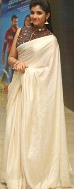 Awesome White Colour Japan Crepe With Moti Work Saree