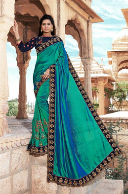 New Collection Skyblue Colour Heavy Embroidery Work N Stone Saree