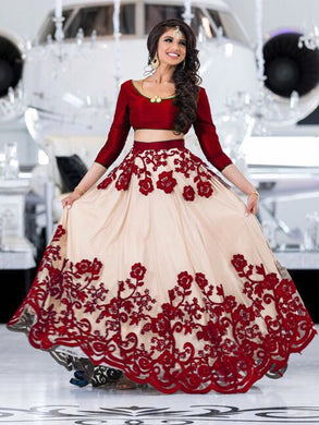 New Collection Red Colour Net With Embroideryi Work Lehenga