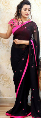 New Collection Black Colour Georget Saree