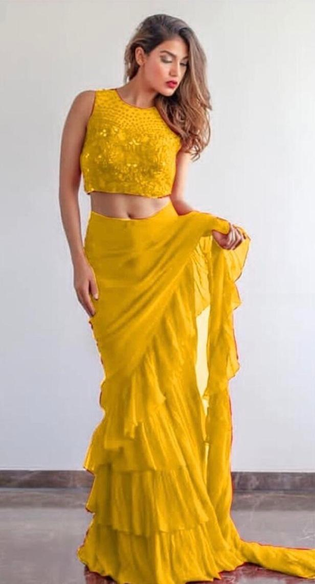 New Collection Yellow Colour Georgette With Ruffle Silaya Saree