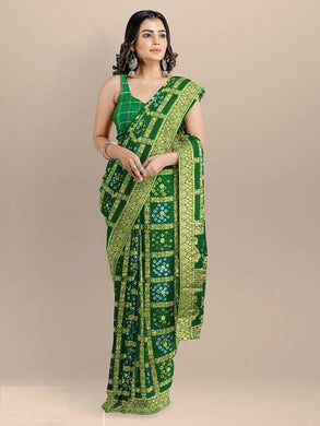 Banarasi Silk With Zari Waving Bandhej Saree Green Color