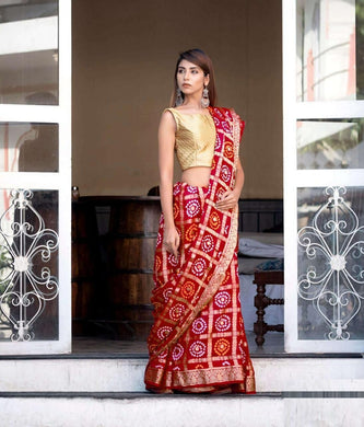 Banarasi Silk With Zari Waving Bandhej Saree Red Color