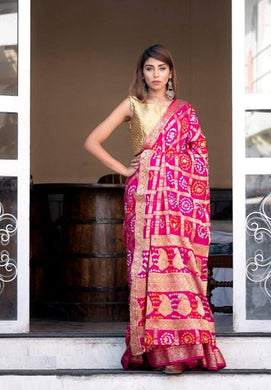 Banarasi Silk With Zari Waving Bandhej Saree Pink Color