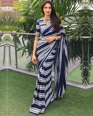 New Collection Navyblue Colour Pure Georrgte Saree