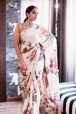 New Collection White Colour Pure Satin With Digital Print Saree