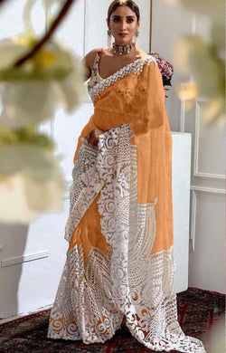 Orange Color Orgenza Silk With Heavy Embroidery Work Saree