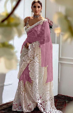 Pink Color Orgenza Silk With Heavy Embroidery Work