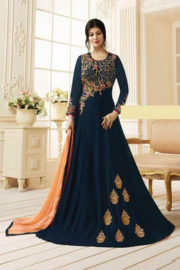 Awasome Navyblue Colour Georgette With Embroidery Work Salwar Suit