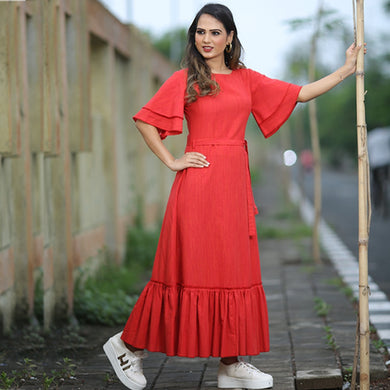 New Collection Red Colour Cotton Gown