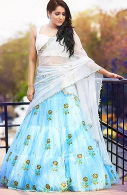 Pretty Skyblue Colour Net With Embroidery Work Lehenga