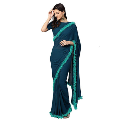 Attactive Blue Colour Georgette With Net Ruffle Lace  Saree