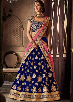 New Collection Blue Colour Velvet Silk With Embroidery Work Lehenga