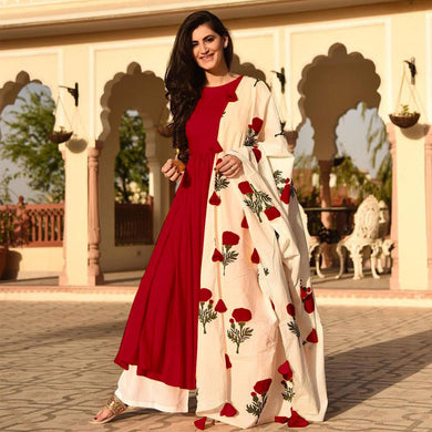 New Collection Red Colour Reyon Cotton Salwar Suit