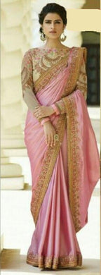 New Collection Pink Colour Designer Crape Saree