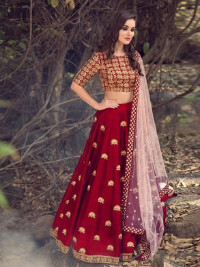 Diwali Special Red Colour Silk With Embroideryi Work Lehenga