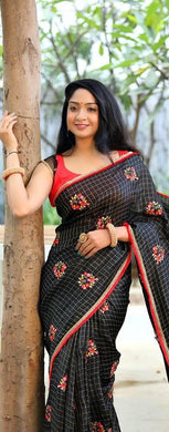 Amazing Black Colour Chanderi Silk Saree