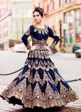 Attactive Navyblue Colour Tapeta Silk With Embroidery Work Lehenga