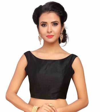 Black Color Satin Fabric Blouse Materials