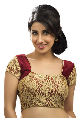 Gold Rasal Net And Maroon Color Fabric Blouse Materials