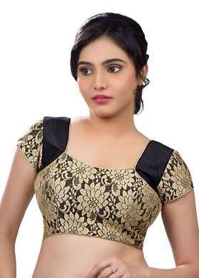 Gold Rasal Net And Black Color Fabric Blouse Materials