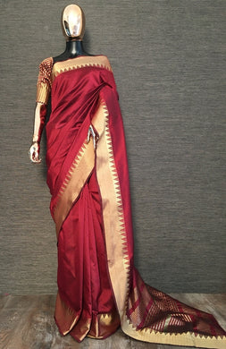 Exclusive Designer Aasam Silk Saree In Wine Color
