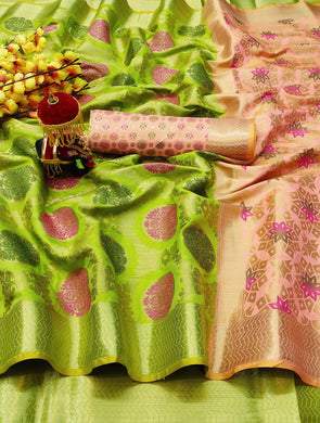 Parrot Heavy Banarasi Silk Hand Woven Patola With Saree Collection